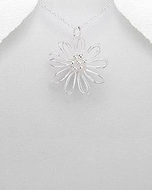 925 Sterling Silver Flower Pendant Hand Crafted